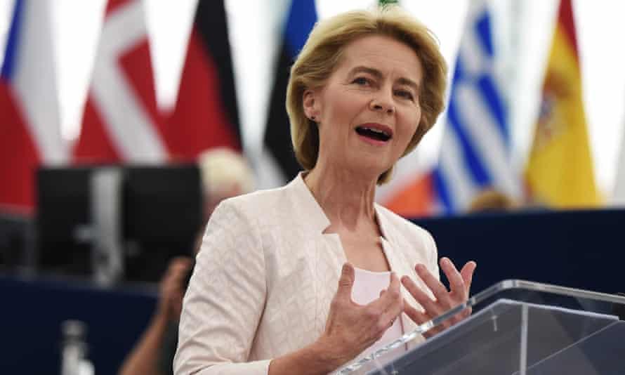 Ursula von der Leyen delivers a speech to the European parliament.