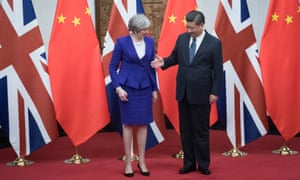 Theresa May meets with Chinese President Xi Jinping at the Diaoyutai State Guest House.