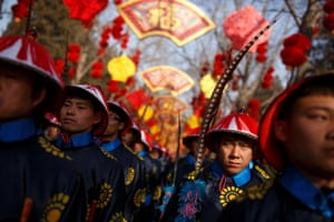 Performers rehearse a re-enactment of a Chinese New Year Qing Dynasty ceremony at the Temple of Earth in Ditan Park in Beijing, China