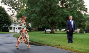 Melania and Donald Trump leave the White House.