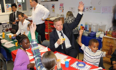 Michael Gove raising his hand with children at a Hackney school in 2012.