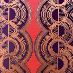 copper black red geometric patterned wallpaper