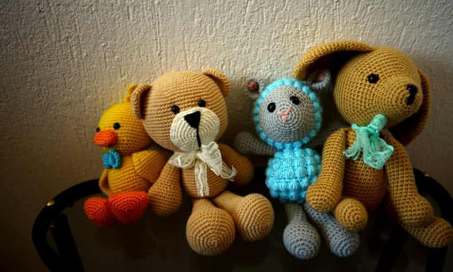Organic toys with amigurumi art.