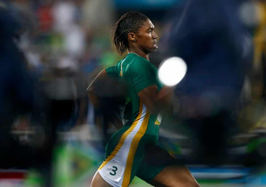 Caster Semenya on track to win the women's 800m final at the 2016 Rio Olympics.
