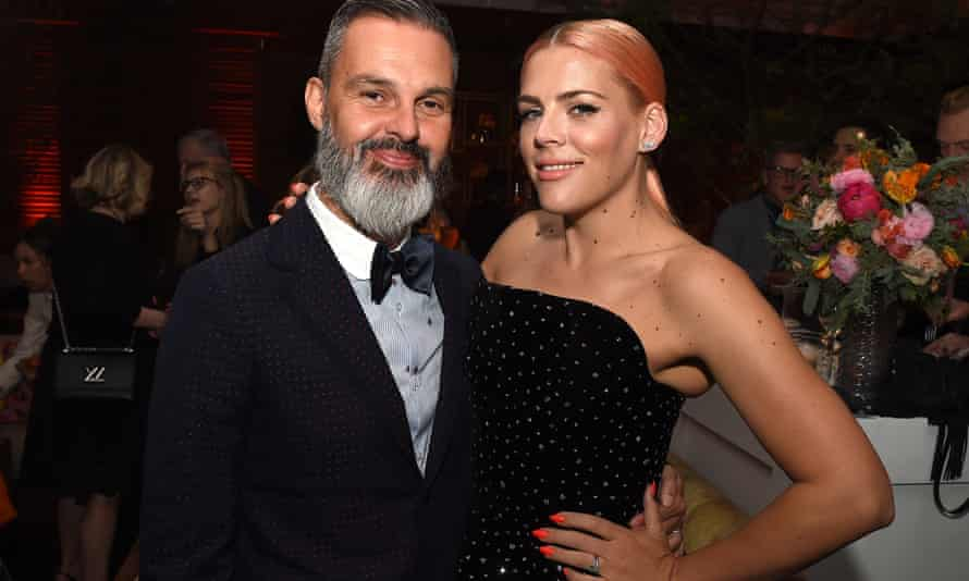 Busy Philipps and husband Marc Silverstein posing together at the premiere of I Feel Pretty