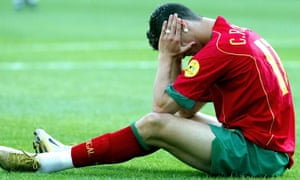 Cristiano Ronaldo despairs after Portugal's defeat to Greece in the final of Euro 2004