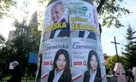 Campaign posters for the 2015 Polish election