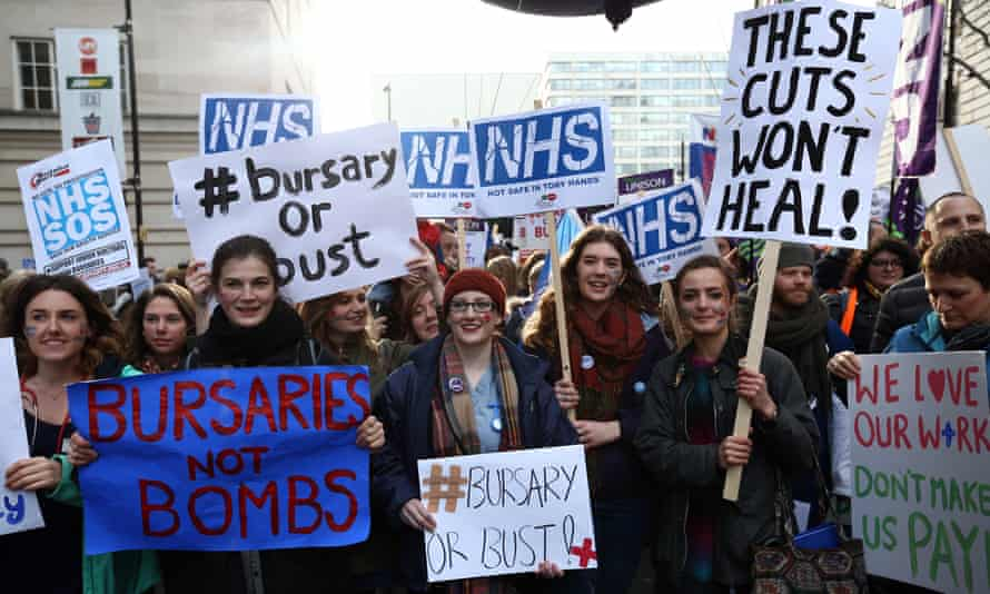 Student nurses demonstrating against government plans to scrap the NHS bursary in 2016.