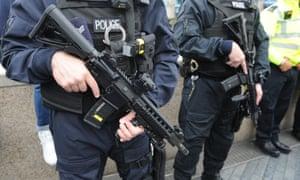 Armed police in London.