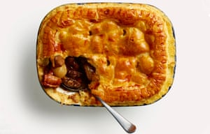 Game pie with puff pastry top
