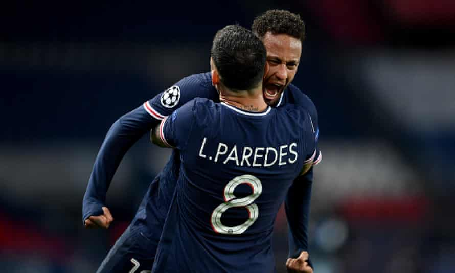 Neymar celebrates Paris Saint-Germain's passage to the Champions League semi-finals with Leandro Paredes after Tuesday's game against Bayern Munich.