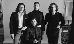 Like characters from a film ... Arctic Monkeys, from left, Jamie Cook, Alex Turner (seated), Matt Helders and Nick O'Malley.