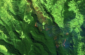 False colour satellite image of the fires at Lamington national park in Queensland, Australia.