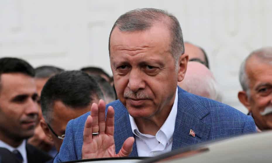 Turkish President Erdogan leaves a mosque in Istanbul on Tuesday