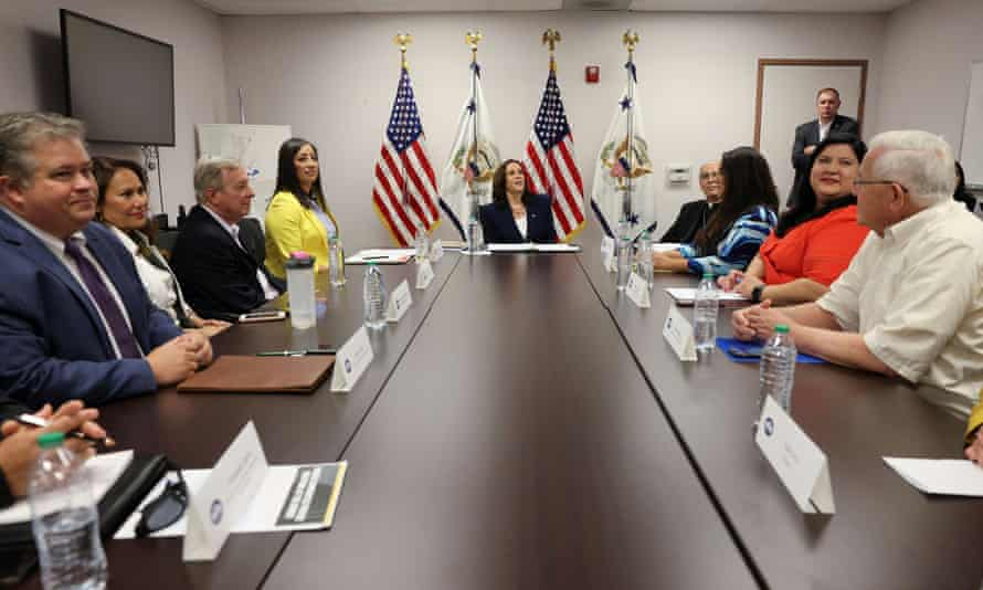 Harris takes part in a round table with faith and community leaders who are assisting with the processing of migrants seeking asylum, at Paso del Norte port of entry in El Paso.