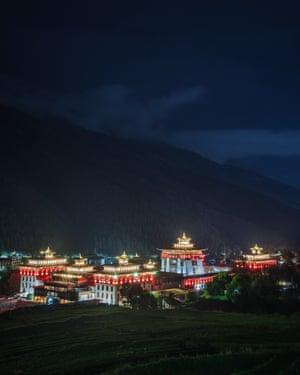 Royal palace, Bhutan, seen at night.