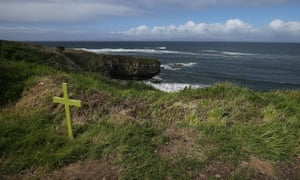 A cross in Mullaghmore Bay near where Lord Mountbatten's boat was blown up in 1979.