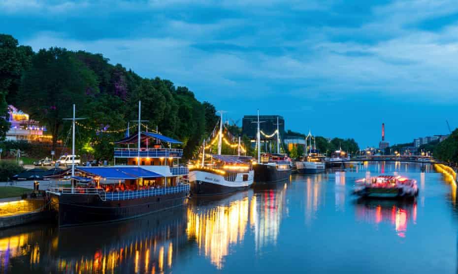 Floating restaurants on the Aura River in cental Turku.