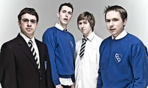 Characters from The Inbetweeners in 2008.