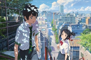 Star-crossed couple Taki and Mitsuha in the 'rip-roaring, heartbreaking' Your Name.