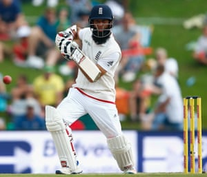 England's Moeen Ali doing his best to give the South Africa bowling a torrid time.