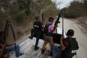 Members of a vigilante group patrol in Xaltianguis, in Mexico's Guerrero state, 29 May