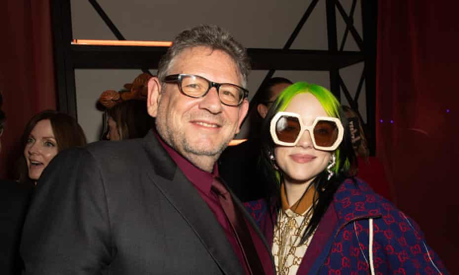 The chief executive of Universal Music Group, Sir Lucian Grainge, with Billie Eilish at the Grammys after party in Los Angeles in January 2020.
