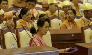 Aung San Suu Kyi at the first session of the new parliament