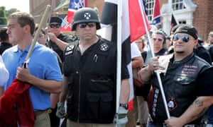 Hundreds of white nationalists, neo-Nazis and members of the 'alt-right' march in Charlottesville, Virginia, in August 2017.