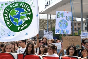 Young demonstrators in Rome.