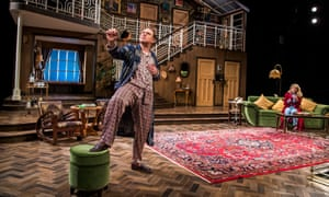 Belligerent coarseness … Rufus Hound as Garry Essendine with Lizzy Connolly (Daphne Stillington) in Present Laughter at Chichester festival theatre.