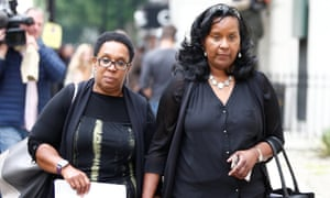 Jackie Ledger and Bernadette Bernard leave the Grenfell inquiry hearing