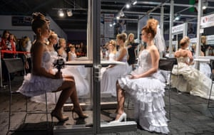 Models in wedding gowns