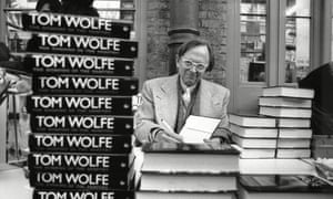 Tom Wolfe signing copies of his bestseller The Bonfire of the Vanities, 1988.