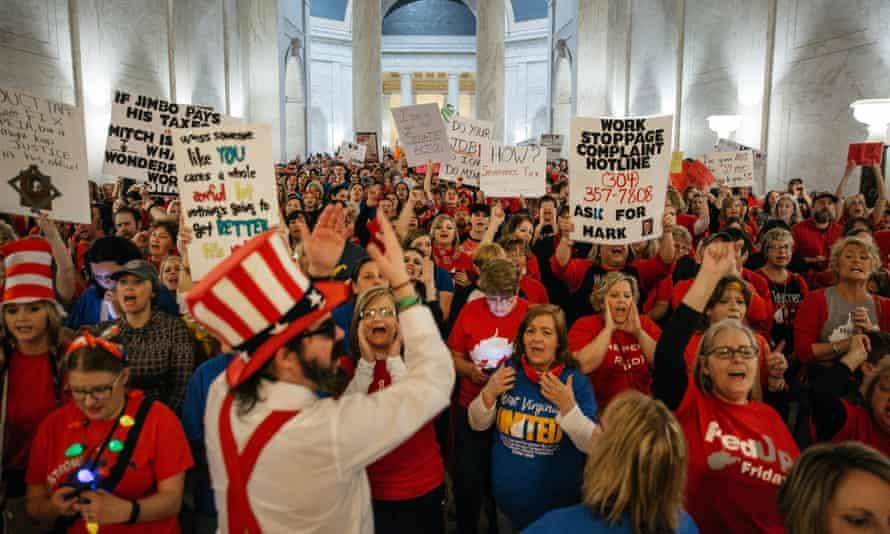 Striking school workers inside the West Virginia State Capitol in Charleston.