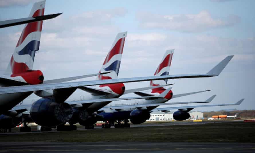 British Airways planes parked at Bournemouth airport
