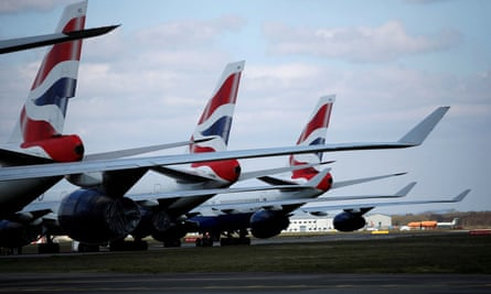 British Airways planes parked at Bournemouth airport