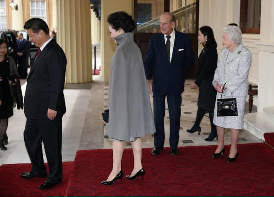 The Queen and Prince Philip bid farewell to Xi and his wife, Peng Liyuan, at Buckingham Palace