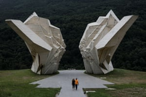 A couple visit the Battle of Sutjeska war memorial in Tjentiste, Bosnia and Herzegovina