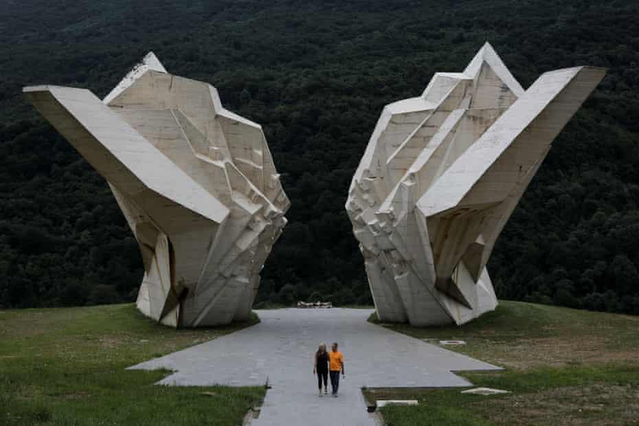 A couple visit the Battle of Sutjeska war memorial in Tjentiste, Bosnia and Herzegovina