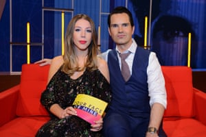Katherine Ryan with Jimmy Carr, as co-hosts of Your Face or Mine?