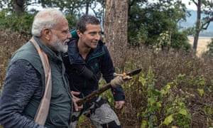 Is that a homemade selfie stick? Bear Grylls and Narendra Modi.