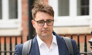 Ben Gascoigne arriving at Boris Johnson's campaign headquarters on Monday.