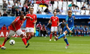 Ondrej Duda fires the ball past Ashley Williams to score the equaliser.