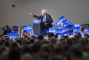 Bernie Sanders speaks at a campaign rally at the Alliant Energy Center in Madison, Wisconsin.
