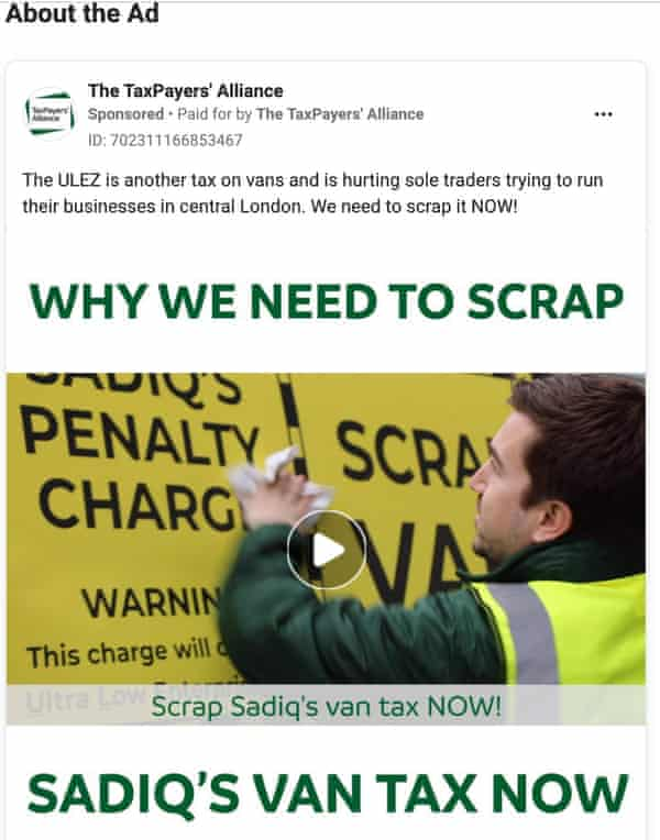Anti-Ulez Facebook ad placed by Taxpayers' Alliance