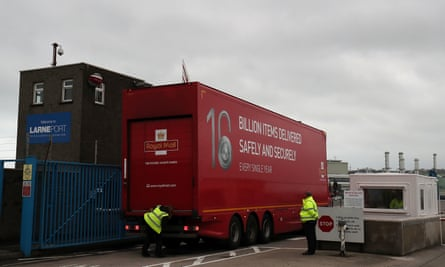 A lorry arrives at Larne Port in Northern Ireland