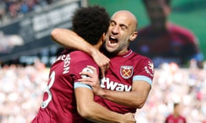 Felipe Anderson is congratulated by Pablo Zabaleta on West Ham's first goal against Manchester United