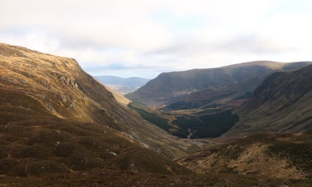 The Jock's Road pass, looking south into Glen Doll, Scotland.