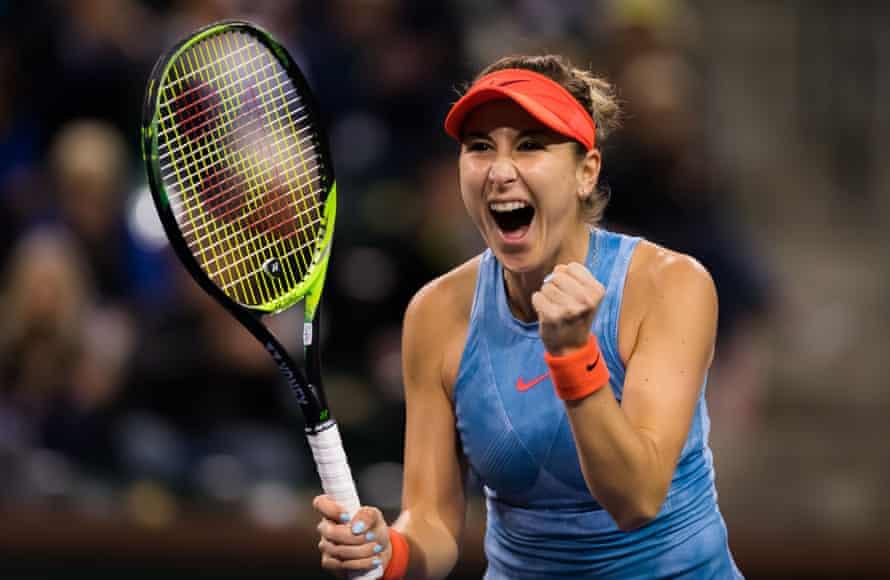 Belinda Bencic celebrates her win over Naomi Osaka